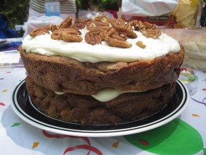 Layered Apple Spice Cake with Cream Cheese Frosting & Walnuts